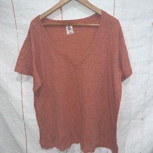Free People V Neck T Shirt Coral Short Sleeve Sz L